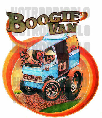 Van  Rat Rod Hot Rod Sticker Surf Boogie Van Rat Fink Vintage Racing Oil Gas