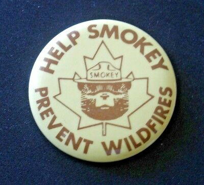 "Vintage Smokey Bear Pin,  ""Help Smokey Prevent Wildfires""   Canada Maple Leaf"