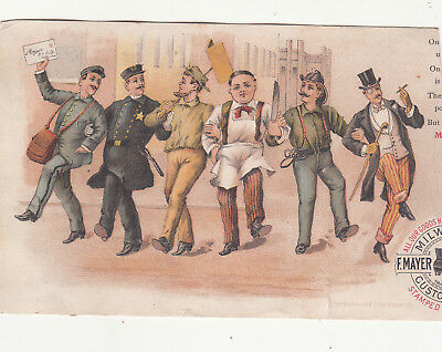 F Mayer Boot & Shoe Co Milwaukee WI Chorus Line of Male Workers Vict Card c1880s