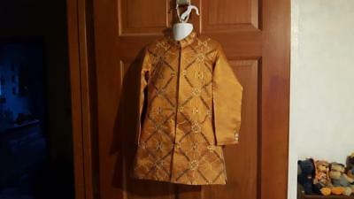 Ethnic Vintage India Boy Sherwani Kurta Jacket, Authentic, Embroidered, Rust Sz2