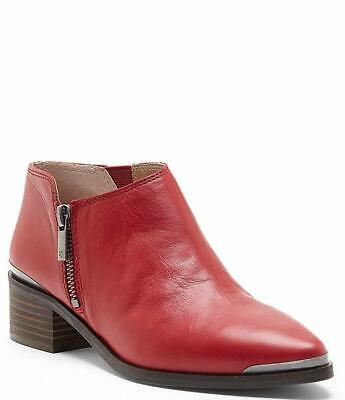fc65ed3b6cf78 LUCKY BRAND BASEL Smooth Leather Zip Block Heel Booties Garnet Red ...