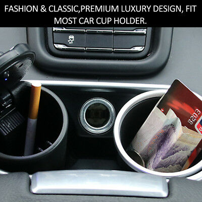 Car Ashtray Auto Travel Cigarette Ash Holder with Blue LED Light Indicator P6J8