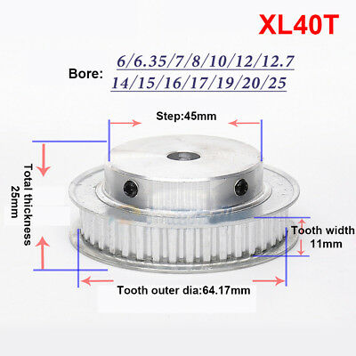 """XL40T Timing Pulley Synchronous Wheel 1/5"""" Pitch 6mm Bore For 10mm Belt x1Pcs"""