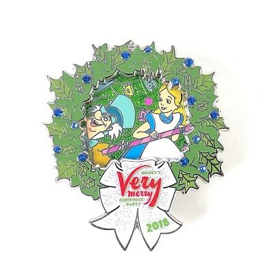 Alice and Mad Hatter Mickey's Very Merry Christmas Party 2018 Wreath Disney Pin