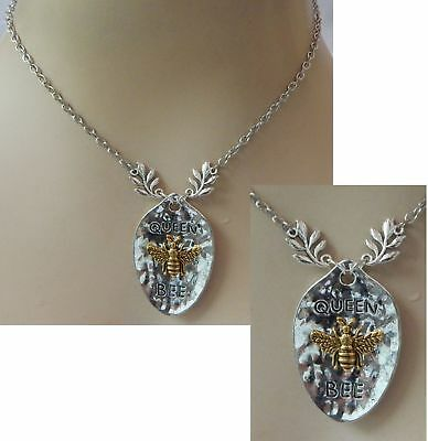 Queen Bee Necklace Pendant Chain Silver Jewelry Honey Bumblebee Fashion Gold