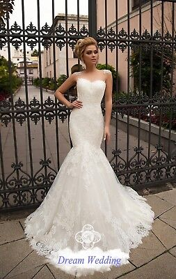 Sexy Beads Back Bridal Gown High Quality Lace Wedding Dress Mermaid Bridal Dress