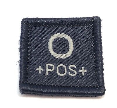 Blood Group Woven Dark Blue Patch #7, LBV, Police & Emergency Workers, Hook Rear
