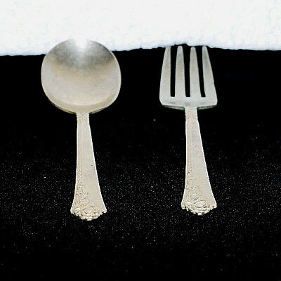 Oneida Damask Rose Heirloom Sterling Silver Baby Fork And Spoon