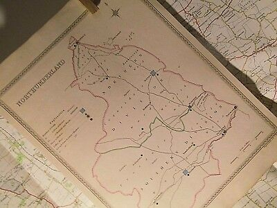 Northumberland, J &C Walker's Antique Map C 1830-Elections Turnpikes Hand Colour