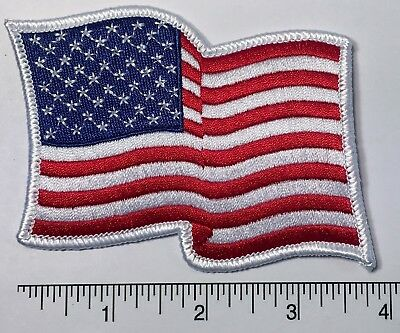 "American Flag WAVING Embroidered Patch 3.75 x 3"" -- Patriotic Pride USA"