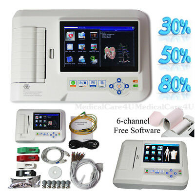Portable ECG Machine Touch Color EKG Monitor 6 Channel Electrocardiograph USB CD
