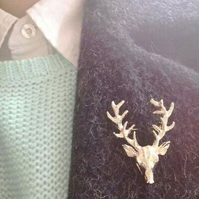 Unisex Animal Collar Brooch Pin Clip Deer Antlers Head Pins Brooches new. SP