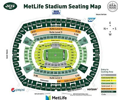 2 Tickets New York Jets Vs. Green Bay Packers Sect 118 Row 31 Plus Parking