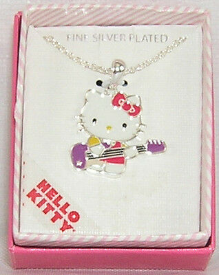Hello Kitty Necklace Silver Plated Guitar VALENTINE GIFT FREE USA SHIPPING NIB