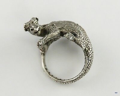 Rare Signed James Yesberger Sterling Silver Dragon Griffin Ring