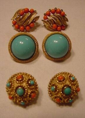 Vintage Marked CROWN TRIFARI Jewels of India Moghul Gold Tone Clip Earrings