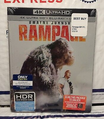 New Rampage 4K Uhd+Blu-Ray+Digital Hd Steelbook! U.s Best Buy Exclusive! Sealed