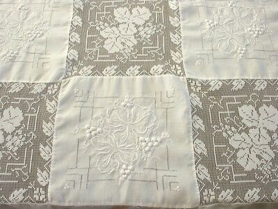82 x 62 Vintage White Tablecloth, Raised Embroidery/Filet Lace Blocks, EXCELLENT