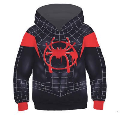 US!Spider-Man: Into the Spider-Verse Miles Morales Children Hoodie FleeceSweater