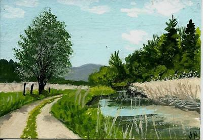 """aceo original acrylic painting """"Creek by the Lane""""  by J. Hutson"""