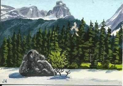 """aceo original acrylic painting """"Edge of the Wilderness""""  by J. Hutson"""