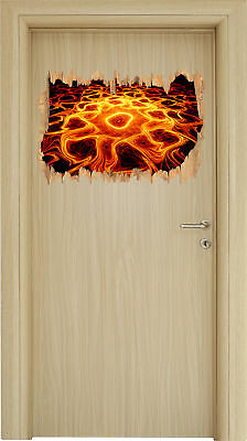 Lumineuse Lave Motif Le Nuit -3D-Look Holzbruch Sticker Autocollant-Sticker