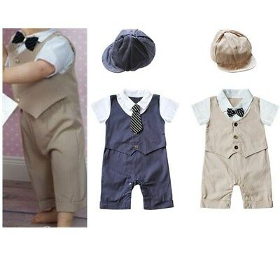 Newborn Baby Boys Gentleman Romper Jumpsuit Formal Bodysuit Outfit With Hat