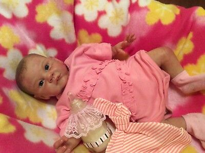 """DISCONTINUED ADORABLE ReBoRn MiChELLe FaGaN """"GrANT"""" BaBy GiRL GHSP PaiNtEd HaiR"""