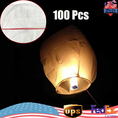 100x White Paper Chinese Lanterns Sky Fly Candle Lamp for Wish Party Wedding