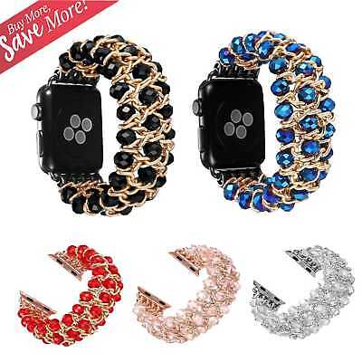 Bling Pearl Beads Strap Bracelet Band For Apple Watch Series 4 3 2 1 38mm-44mm