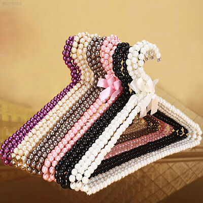2A31 Clothes Hanger Plastic Pearl Home Closet Space Saver Clothes Dress Storage