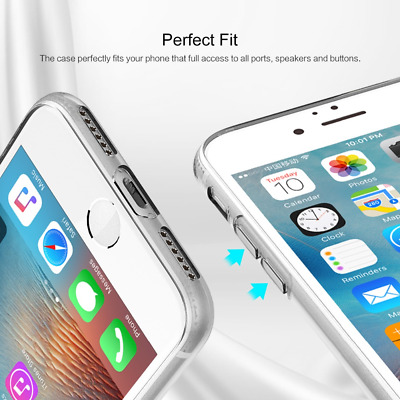 For iPhone 8 Plus X Transparent Crystal Clear Case Gel TPU Soft Cover Set UK