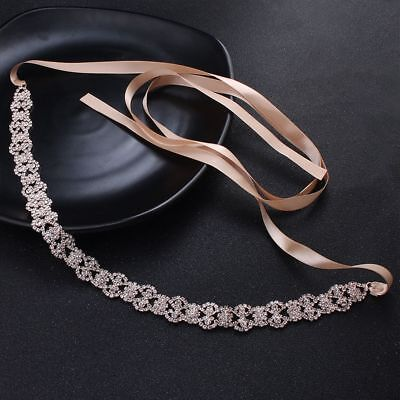 Exqusite Satin Wedding Ribbon Belt Rhinestone Bridal Dress Accessory Belly Chain