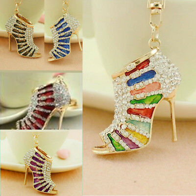 Trendy High Heel Shoes Keyring Women Crystal Rhinestone Key Bag Chain Pendant