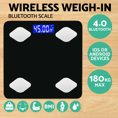 Bluetooth Digital Body Fat intelligent Scale Bathroom Health Analyser 180KG