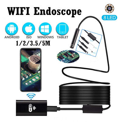8MM HD WiFi Endoscope Inspection Camera Waterproof for iPhone PC iPad Samsung AU