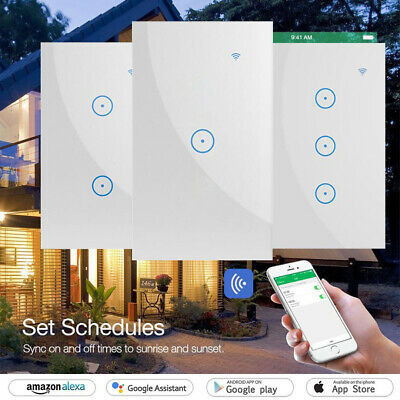 WIFI Smart Wall Light Touch Panel Switch Timing Sockets for Alexa Google App AU