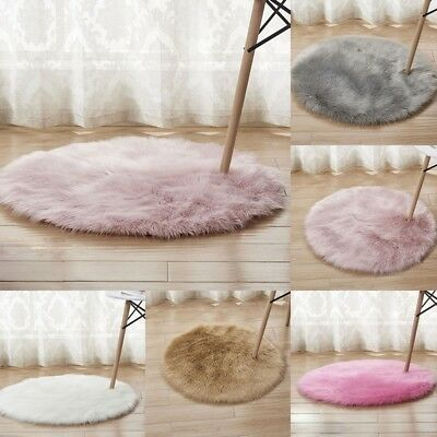 40/50 CM Round Shaped Shaggy Fluffy Rugs Anti-Skid Area Rug Carpet Bedroom Floor