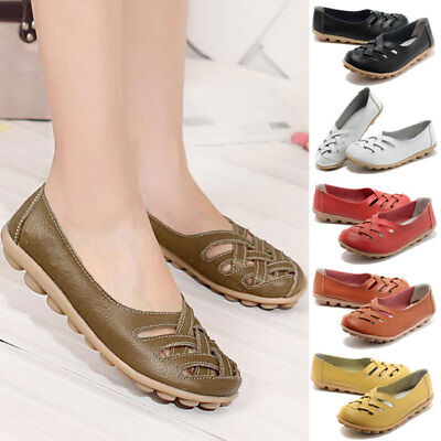 Women Leather Comfort Casual Slip on Hollow Lazy Flat Shoes Loafers Moccasin DZ
