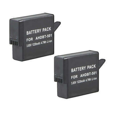 TWO (2) AABAT-001 AHDBT-501 Battery FOR GoPro HD 4K Hero 6 Hero 5 Black
