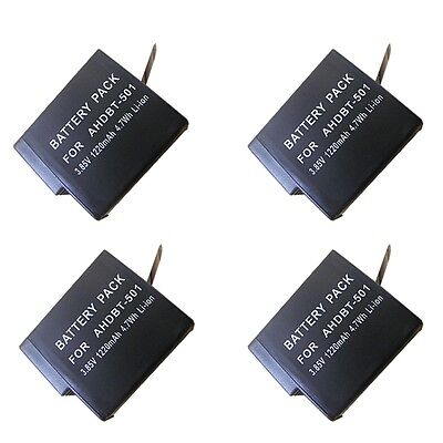 4 PACK For GoPro Hero 7 Black Hero 5 6 Black AHDBT-501 AABAT-001 Battery
