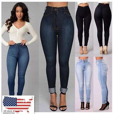 Womens Pants Denim Mid Waist Skinny Stretch Full Length  Casual Solid Trousers