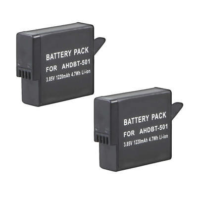 2x 1220mAh AHDBT-501 Li-ion Battery Pack 3.85V for GoPro Hero 5 Go Pro Session