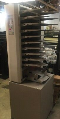 BAUM PLOCKMATIC 310 MAXXUM 10 VERTICAL COLLATOR and STAND for BOOKLET MAKING