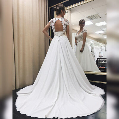 Lace Applique Wedding Dresses Chiffon Backless Bridal Gown A-line Wedding Gowns