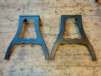 """Industrial cast iron Dining table legs """"New York"""" embossed lettering"""