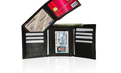 Wallet Genuine Leather Purse Trifold Card Holder Removable Window Mens Credit Id