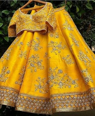 Yellow Lehenga Choli Chunri Designer Wedding Wear Lengha Indian Lahanga Woman