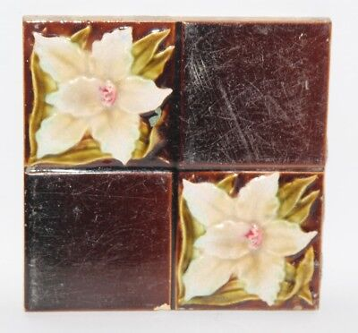 "Antique Art Nouveau Relief Moulded Majolica Four Panel 6"" Tile"