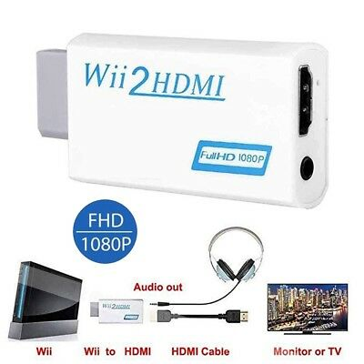 Wii Input to HDMI 1080P HD Audio Output Converter Adapter Cable 3.5mm Jack Audio